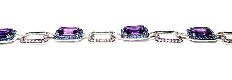Women's 18 Carat White Gold Amethyst Bracelet with Blue-Lilac, Pink Corunds and Diamonds For Sale