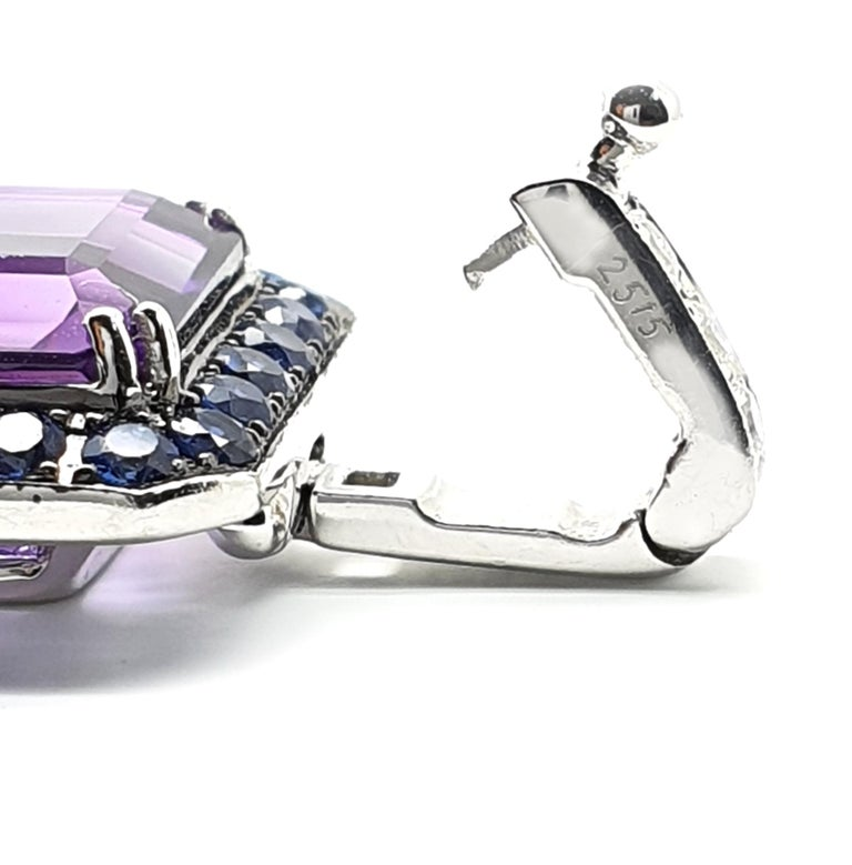 18 Carat White Gold Amethyst Bracelet with Blue-Lilac, Pink Corunds and Diamonds For Sale 1