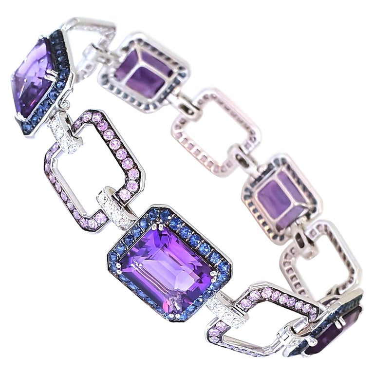 18 Carat White Gold Amethyst Bracelet with Blue-Lilac, Pink Corunds and Diamonds For Sale