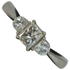 18 Carat White Gold and 0.80 Carat Diamond Princess Cut Trilogy Ring