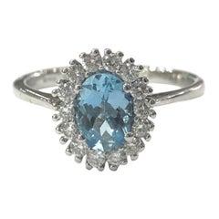 18 Carat White Gold Aquamarine and Diamond Cluster Ring