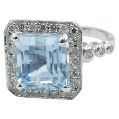 18 Carat White Gold Aquamarine and Diamond Dress Ring