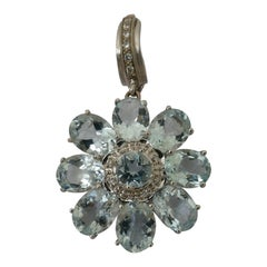 18 Carat White Gold Aquamarine and Diamond Flower Enhancer