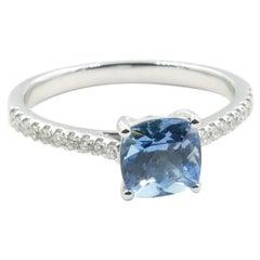18 Carat White Gold Aquamarine and Diamond Ring