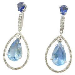 18 Carat White Gold Aquamarine, Blue Sapphire and Diamond Drop Earrings
