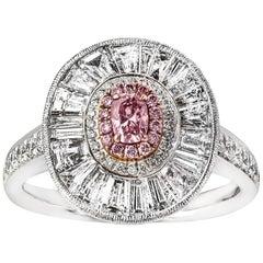 18 Karat Weißgold Argyle Rosa Diamant, Baguette und Brillantschliff Diamantring