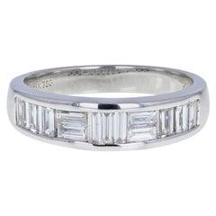 18 Carat White Gold Baguette Cut Diamond Channel Set Half Hoop Eternity Ring