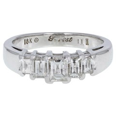 18 Carat White Gold Baguette Cut Diamond Graduated Five-Stone Ring