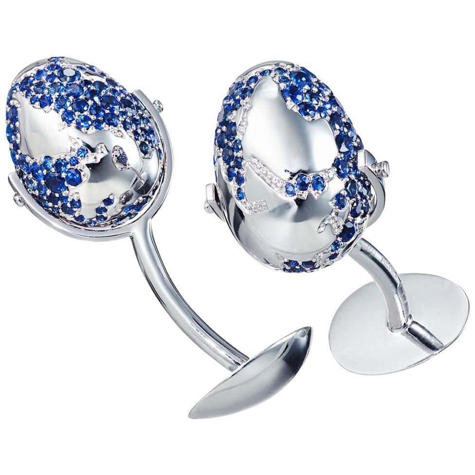 18 Carat White Gold Blue Sapphire Cufflinks Aenea Jewellery