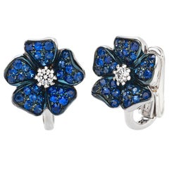 18 Carat White Gold Blue Sapphires and Diamonds Earrings