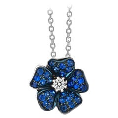 18 Carat White Gold Blue Sapphires and Diamonds Pendant Necklace