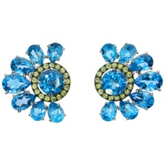 Chatila White Gold Blue Topaz and Peridot Flower Earrings