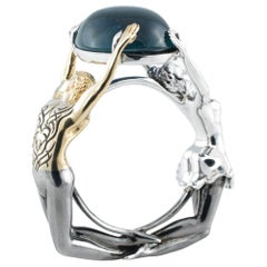 AENEA 18k White Gold Indigolite Dancer Cocktail Ring