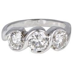 18 Carat White Gold Brilliant Cut Diamond Three Stone Trilogy Ring