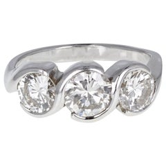 18 Carat White Gold Brilliant Cut Diamond Three-Stone Trilogy Ring