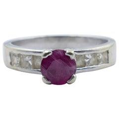 18 Carat White Gold Burmese Ruby and Diamond Ring