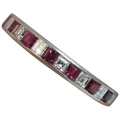 18 Carat White Gold Carre Cut Diamond and Ruby Half Eternity Stack Ring