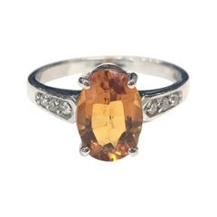 18 Carat White Gold Citrine and Diamond Ring
