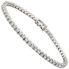 18 Carat White Gold Claw Set Brilliant Cut Diamond Tennis Bracelet
