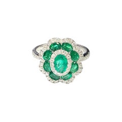 18 Carat White Gold Colombian Emerald and Diamond Art Deco Style Cluster Ring