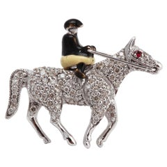 18 Carat White Gold Diamond Brooch in the Form of a Rider on Horseback