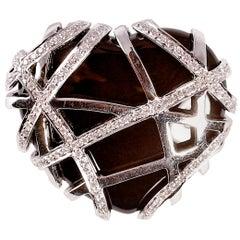 18 Carat White Gold Diamond Heart-Shaped Pendant