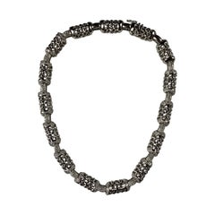 18 Carat White Gold Diamond Linked Necklace