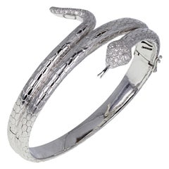 18 Carat White Gold Diamond Snake Serpent Bangle Bracelet