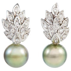 18 Carat White Gold Earrings Pavé Set with Diamond Brilliants and Pearl Drops