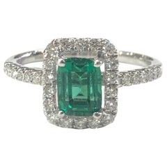 18 Carat White Gold Emerald and Diamond Cluster Ring