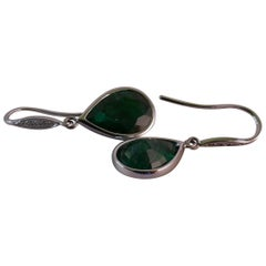 18 Carat White Gold Emerald and Diamond Earrings