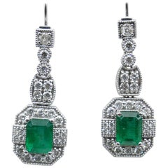 18 Carat White Gold Emerald and Diamond High Quality Drop Earrings