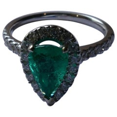18 Carat White Gold Emerald and Diamond Pear Cut Ring