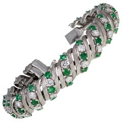 18 Carat White Gold Emerald Diamond Bracelet