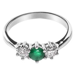 18 Carat White Gold Emerald and Diamond Trilogy Ring