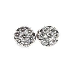 18 Carat White Gold Flower Cluster Round Brilliant Cut Diamond Stud Earrings