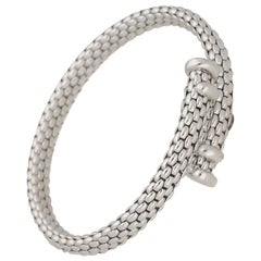 18 Carat White Gold Fope Brickwork Bangle