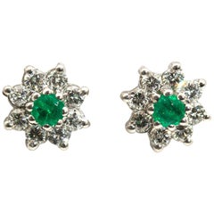 18 Carat White Gold Green Emerald and Diamond Cluster Vintage Stud Earrings