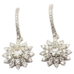 "18 Carat White Gold High Level Diamond ""Flower"" Style Drop Earrings"