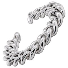 18 Carat White Gold Hollow Curb Link Bracelet