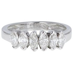 18 Carat White Gold Marquise Cut Diamond Six-Stone Ring