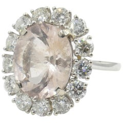 18 Carat White Gold Morganite and Diamond Fancy Cocktail Ring