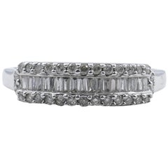 18 Carat White Gold Multi-Diamond Dress or Wedding Band