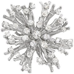 18 Carat White Gold Old Cut Diamond Coral Pendant Brooch