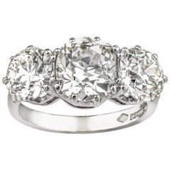 18 Karat Weißgold Altschliff Diamanten Drei-Steiniger Ring