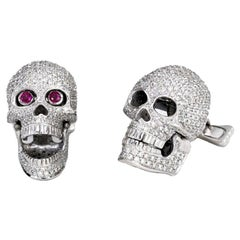 18 Carat White Gold Pave Diamond Skull Cufflinks with Ruby Eyes