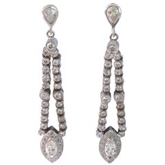 18 Carat White Gold Pear, Marquise and Round Brilliant Cut Drop Earrings