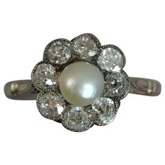 18 Carat White Gold Pearl and Old Cut Diamond Cluster Ring