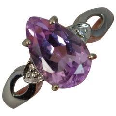 18 Carat White Gold Pink Kunzite Diamond Ring