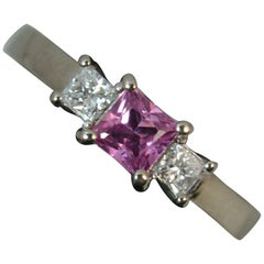 18 Carat White Gold Pink Sapphire Vs Diamond Trilogy Ring